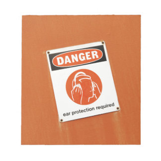 Danger! Ear protection required Notepad