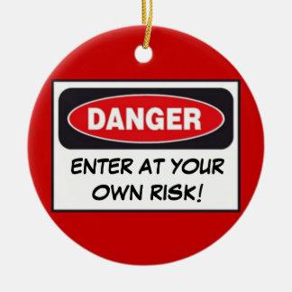 DANGER - ENTER AT YOUR OWN RISK! Door Hanger Double-Sided Ceramic Round Christmas Ornament