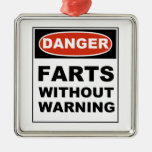 Danger Farts Without Warning Square Metal Christmas Ornament