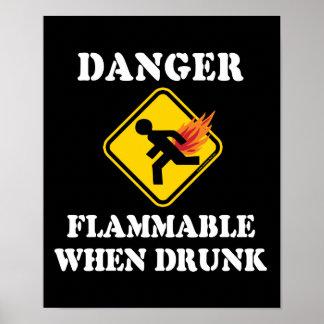 Danger Flammable When Drunk Fart Humor Posters