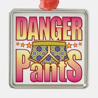 Danger Flowery Pants Square Metal Christmas Ornament