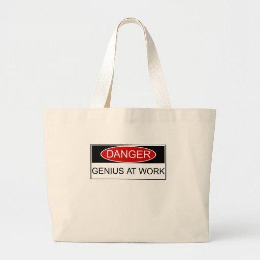 Danger Genius at Work Tote Bag
