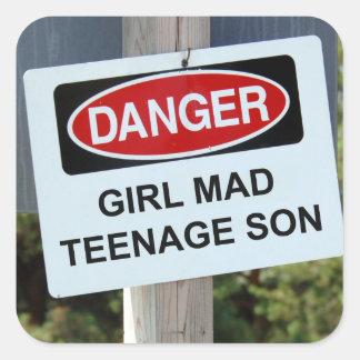Danger Girl Mad Teenage Son Sign Sticker
