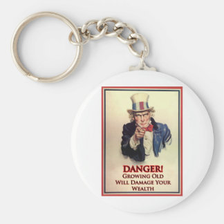 Danger Growing Old Uncle Sam Poster Basic Round Button Keychain