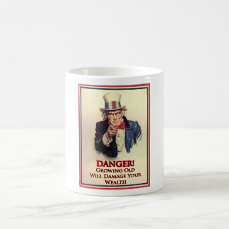Danger Growing Old Uncle Sam Poster Coffee Mug