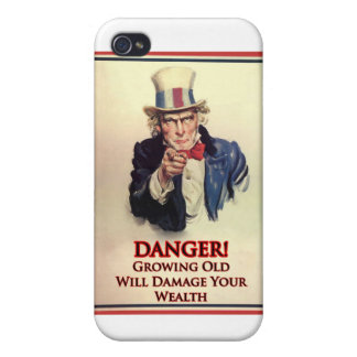 Danger Growing Old Uncle Sam Poster Cover For iPhone 4