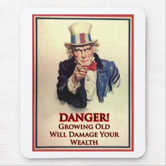 Danger Growing Old Uncle Sam Poster Mouse Pad