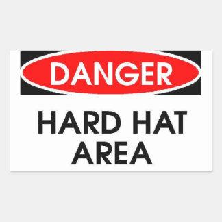 Danger Hard Hat Area Sticker (Rectangle)