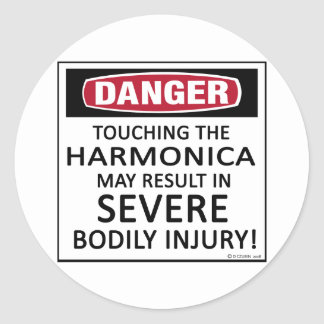 Danger Harmonica Classic Round Sticker