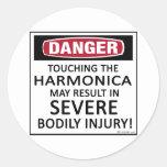 Danger Harmonica Round Stickers
