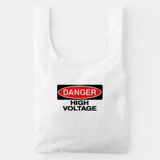 Danger High Voltage Hazard Sign Reusable Bag