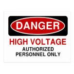Danger High Voltage Post Card