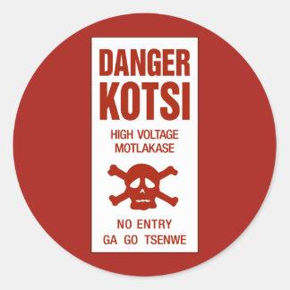 Danger High Voltage Sign, Botswana Classic Round Sticker