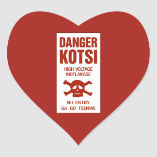 Danger High Voltage Sign, Botswana Heart Sticker