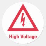 Danger High Voltage Symbol Classic Round Sticker