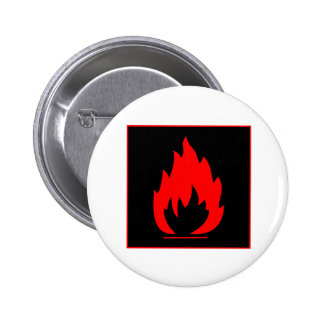 Danger Highly Flammable Warning Sign Chemical Burn Pinback Button