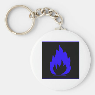 Danger Highly Flammable Warning Sign Chemical Burn Keychain