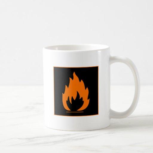 Danger Highly Flammable Warning Sign Chemical Burn Mugs