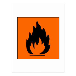 Danger Highly Flammable Warning Sign Chemical Burn Postcards