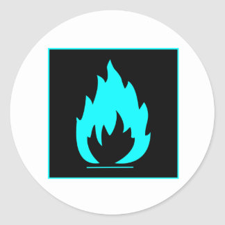 Danger Highly Flammable Warning Sign Chemical Burn Round Stickers