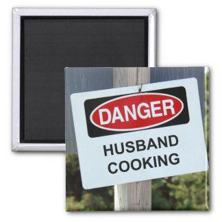 Danger Husband Cooking Sign Magnet