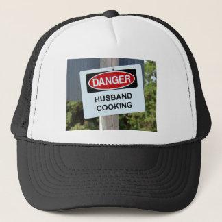 Danger Husband Cooking Sign Trucker Hat