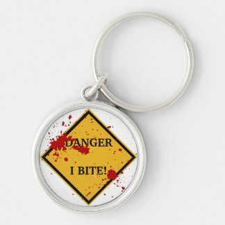 DANGER: I BITE! Silver-Colored ROUND KEYCHAIN