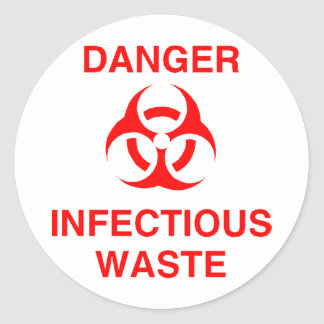 Danger Infectious Waste Round Stickers