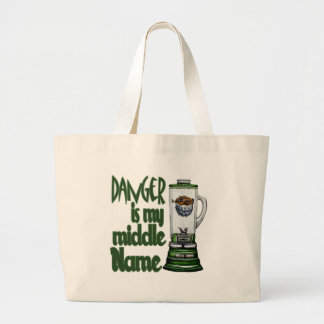 Danger Is My Middle Name Large Tote Bag