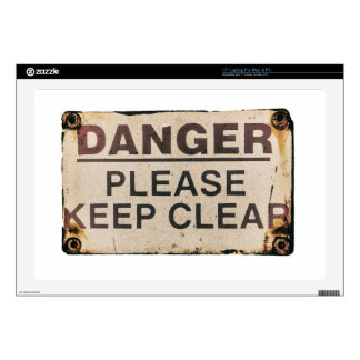 "Danger Keep Clear Sign 17"" Laptop Decal"