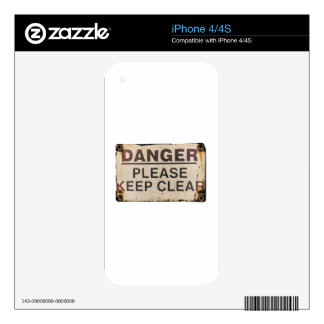 Danger Keep Clear Sign Decal For The iPhone 4