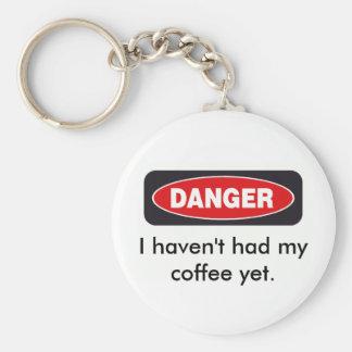 danger basic round button keychain