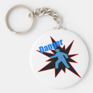 Danger! Basic Round Button Keychain