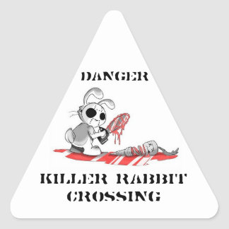 Danger Killer rabbit Crossing Stickers