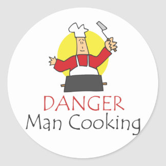Danger Man Cooking Classic Round Sticker