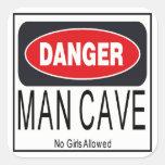 Danger ManCave Square Sticker