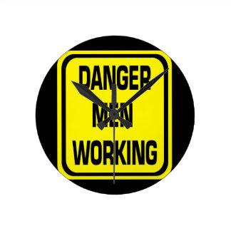 Danger Men Working Clock