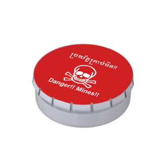 Danger!! Mines!! ☠ Cambodian Khmer Sign ☠ Jelly Belly Tin