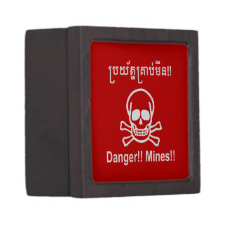 Danger!! Mines!! ☠ Cambodian Khmer Sign ☠ Jewelry Box