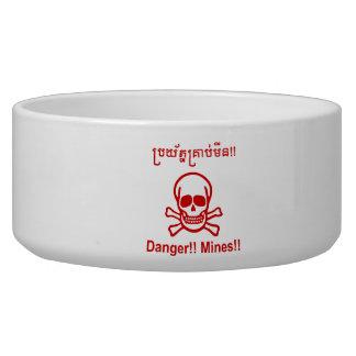 Danger!! Mines!! ☠ Cambodian Khmer Sign ☠ Pet Water Bowls