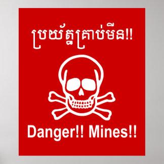 Danger!! Mines!! ☠ Cambodian Khmer Sign ☠ Poster