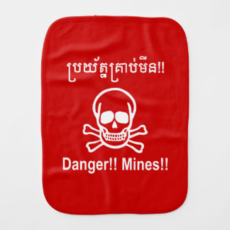 Danger!! Mines!! ☠ Cambodian Khmer Sign ☠ Baby Burp Cloth
