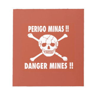 Danger Mines Sign, Angola Memo Note Pad