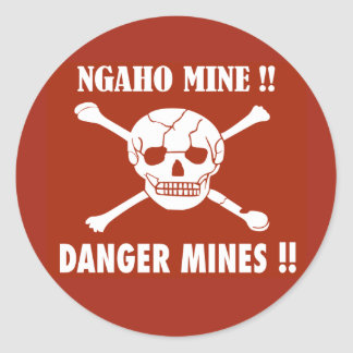 Danger Mines Sign, Burundi Classic Round Sticker