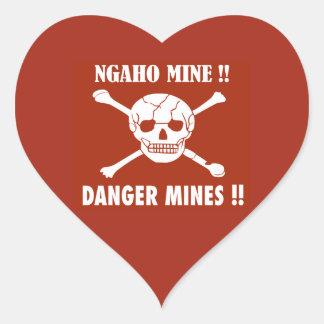 Danger Mines Sign, Burundi Heart Sticker