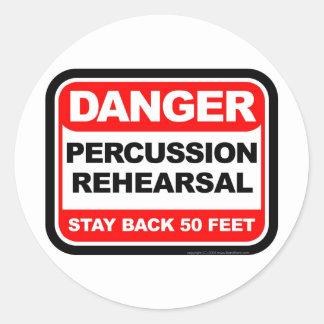 Danger Percussion Rehearsal Classic Round Sticker