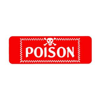 Danger Poison Bright Red Crossbones Label