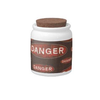 Danger Postings Signs Jar Candy Jar