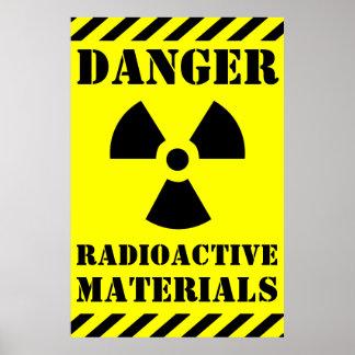 DANGER RADIOACTIVE MATERIALS Sign Halloween Prop Poster