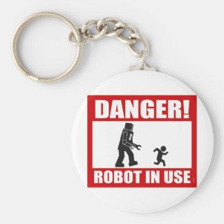 Danger! Robot in Use Keychain